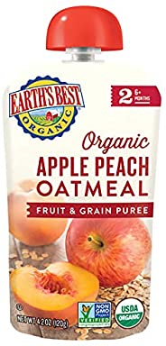 earth's best organic stage 2, apple, peach & oatmeal, 4.2 ounce pouch (12个包装) by eart