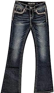 Grace in LA Gir's 微喇牛仔裤,镶边口袋,蓝色