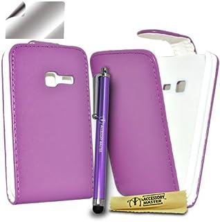 配件大师包由皮革/屏幕保护膜/手写笔组成,适用于 Samsung Chat S3570 紫色