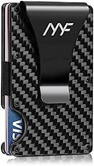 Mosiyeef 碳纤维钱包,极简主义男士钱包,金属钱夹钱包,RFID 屏蔽信用卡夹钱包,黑色