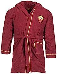 A.S. ROMA 节省空间超细纤维浴袍,适合 12/14 岁儿童,带官方胸饰,黄色和红色