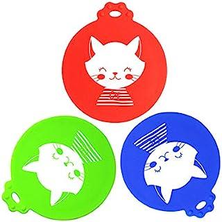 五大象大猫,3 件多色趣味罐盖通用硅胶宠物食品罐顶盖适用于宠物猫罐粮,适合大多数标准尺寸