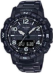 Casio 卡西欧 男式 Pro Trek 蓝牙连接石英健身手表钛表带,黑色,23(型号:PRT-B50YT-1CR)