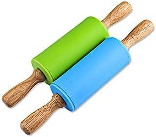 Honglida 9 英寸(约 22.9 厘米)硅胶擀面杖,防滑表面,舒适木质手柄