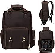 UBANT 皮革相机背包,适用于摄影师,复古全粒面皮革数码单反相机包,15.6 英寸笔记本电脑隔层和三脚架支架,男女专业摄影相机包