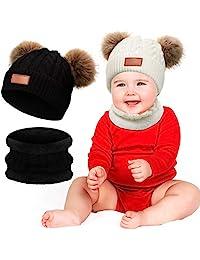 4 件套婴儿幼儿幼儿冬季保暖针织帽无檐小便帽和围脖保暖套装双绒球针织毛线帽和圆形围巾适合0-3岁女孩男孩白色黑色