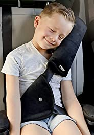 SafeBB 高级*带调节器,适合儿童,带*带枕头和头枕挂钩套装!儿童颈部支撑头枕,汽车座椅皮带调节器,儿童和成人*带垫(黑色)
