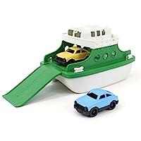 Green Toys 渡輪帶微型汽車的浴缸玩具 綠色/白色 10X 6.6 x 6.3英寸 (約25x 16.7x 16cm)