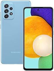 Samsung 三星 Galaxy A52 智能手机无合同,6.5 英寸 Infinity-O 全高清+ 显示屏,128 GB 内存,4500 mAh 电池和超快速充电功能,蓝色,30 个月制造商保修 [亚马逊*]