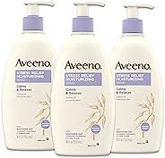 Aveeno 艾维诺 减压保湿身体乳液,含有薰衣草,天然燕麦和洋甘菊及依兰精油,平静和放松,18液体盎司/532毫升(3件装)