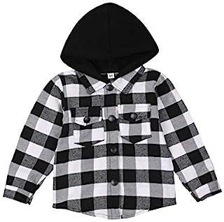 幼儿婴儿格子衬衫连帽经典连帽多色格子夹克中性款长袖秋冬春装。(6-12 个月,灰色)