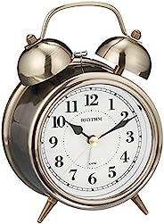 RHYTHM 台式时钟 金色 熏制 13.4x9.6x6厘米 闹钟 连续秒针 复古 古董风格 铃音 8RAA06SR63