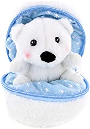 Plushland 雪球填充拉链动物 – 北极熊 – 可爱毛绒动物组合 – 适合家人和朋友的奇妙柔软玩具