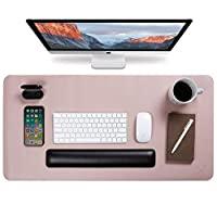 Yikda 扩展皮革游戏鼠标垫/垫,大型办公写字台电脑皮革鼠标垫,防水,超薄1.2毫米 - 31.7英寸 x 15.7英寸(粉色/银色)