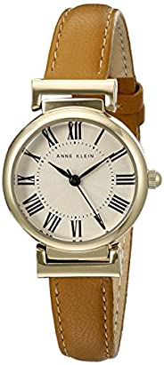 ANNE KLEIN 女士皮革表帶手表,Brown/Gold, AK/2246CRHY