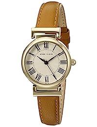 ANNE KLEIN 女士皮革表带手表,Brown/Gold, AK/2246CRHY