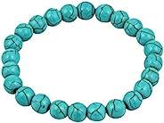 DHYANARSH 100% 原创认证 天然 Phiroza (Firoza/绿松石) 石手链 8mm 华丽半宝石 * Phiroza (Firoza) 串珠手链 男女通用