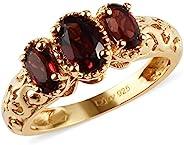 14K 鍍黃金 925 純銀橢圓形石榴石鏤空三部曲戒指女士畢業禮物 0.9 克拉