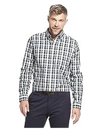 ARROW USA 1851 男士漢密爾頓府綢長袖紐扣格子襯衫