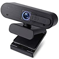 ELECOM 全款 1080P 網絡攝像頭 30FPS 內置麥克風高級自動對焦隱私保護套適用于 PC 臺式機和筆記本電腦 (WEBCAM-101BK)