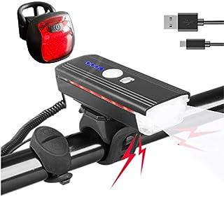 LED 自行车灯套装 可充电 USB 敏感灯 前车灯 带电子喇叭 超亮自行车后灯 无需工具 安装长距离照明套装 适用于成人儿童山地自行车