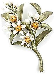 Michael Michaud 新款橙色花朵别针胸针 5972