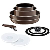 T-fal 特福 ingenio 煎鍋平底鍋湯鍋9件套棕色 天然氣用 PowerGlide4層涂層 L21590