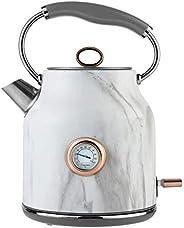 Tower Bottega T10020WMRG传统水壶,快速煮沸,带温度刻度盘,烧干保护,自动关闭,静音,不锈钢,3000 W,1.7升,大理石和玫瑰金