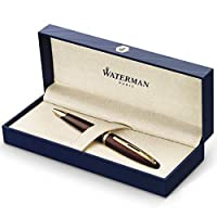 Waterman Carene Deluxe Black, BallPoint Pen with Medium solid gold nib and blue ink (S0700940)