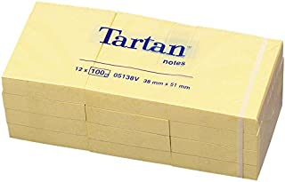 Tartan 005138 便签,38x51 毫米,63 G/Qm,100 张,24 x 12 块,黄色