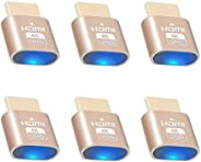 4K HDMI 虚拟插头,无头幽灵显示屏模拟器,[3840x2160@60Hz 新一代]高辨别率虚拟显示器显示适配器无头适用于挖矿,与 Windows Mac OSX-6 套装