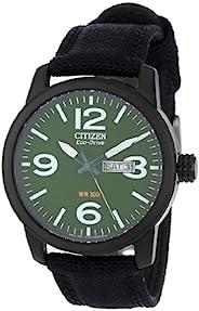 Citizen 男士 BM8475-00X 光动能*黑色镀钢帆布表带手表