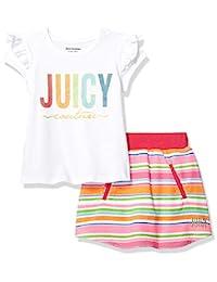 Juicy Couture 橘滋 女童滑板车 2 件套 White/Pink Stripes 4T