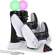 PS Move Motion 和 PS5 控制器的充电器站,4 合 1 充电器底座支架 USB 快速充电站,带 LED 指示灯,适用于 PS 移动控制器和双感控制器