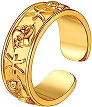 26 星座星座星座戒指,18K 黄金星座可调节缠绕式开口戒指,免费雕刻定制占星术首饰,女士女孩的宽宣言戒指