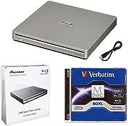Pioneer 先锋 BDR-XS07S 便携式 6X 蓝光刻录机外置驱动器套装 带100GB M-DISC BDXL 和 USB 线 - 烧录 CD DVD BD DL BDXL 光盘