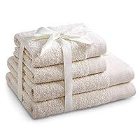 AmeliaHome 毛巾套装 Ecru 2 条毛巾 50 x 100 厘米 和 2 条浴巾 70 x 140 厘米 * 纯棉质量吸水乳乳 Amari