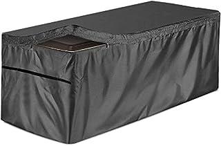 庭院甲板箱盖防水户外储物盒盖可防止户外雨风和雪花,适用于户外甲板箱,Ottoman 长椅,黑色 51 英寸长 x 24 英寸宽 x 28 英寸深