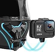 自行车摩托车头盔下巴固定架兼容 GoPro 运动相机 Hero 8/7/6/5/4/(黑色)和大多数其他运动相机适用于 Vlog/POV 拍摄配件