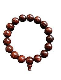 Qzoxx Mantra 男士女士西藏佛 15 毫米红色檀香珠 Fo Kwan-yin Mala 冥想手镯瑜伽手链