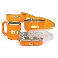 [自營]美國進口-Thinkbaby 辛克寶貝 不銹鋼兒童餐具4件套(飯盒,湯碗,餐碗,水杯)橙色