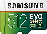 SAMSUNG 三星 EVO Select 512GB microSDXC UHS-I U3 100MB/s 全高清和 4K UHD 内存卡,带适配器(MB-ME512HA)