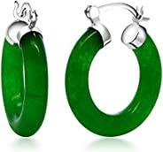 生动绿色 925 纯银实心生动绿色 925 纯银实心玉石耳环 1.27 厘米