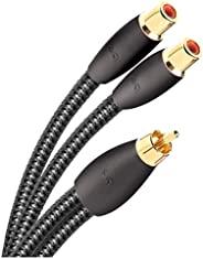 AudioQuest Y 分路器 - 一根 RCA 公向兩根 RCA 母頭 6 英寸(15.24 厘米)電纜