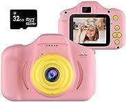 Kiditos 儿童数码相机 - 高清迷你相机玩具录像机 适用于 3-11 岁儿童 - 防震 -1080P 幼儿视频录像机和摄影 - 男孩和女孩的礼物 - 附赠 32GB SD 卡 粉红色