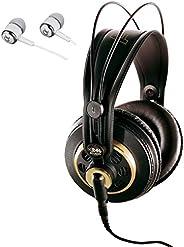AKG K240 STUDIO 半开式头戴式专业录音室耳机包括可拆卸电缆和变态技术,增强低音响应/包括 Alphasonik 耳塞