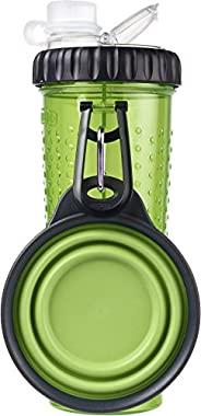 Dexas Popware For Pets Snack DuO Dual Chambered Hydration Bottle and Snack Container with Collapsible Pet Cup,