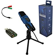 电脑麦克风,3.5 毫米即插即用电脑麦克风,带桌面三脚架,广播录音电容麦克风,带音频适配器,适用于电脑笔记本电脑,手机 Skype YouTube 游戏