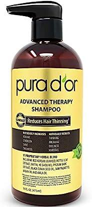 PURA D'OR 高级无硫酸盐生物素洗发水,可缓解秀发的稀疏状况,增加体积,注入摩洛哥坚果油芦荟,适用于所有秀发类型,男士女士通用,16 液体盎司,473毫升(包装略