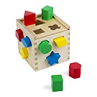 Melissa & Doug 形状配对游戏积木盒-经典木制玩具 12块